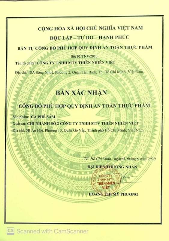 giấy chứng nhận cà phê sâm